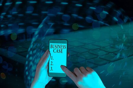 Text sign showing Business Case. Business photo showcasing Proposition Undertaking Verbal Presentation New Task