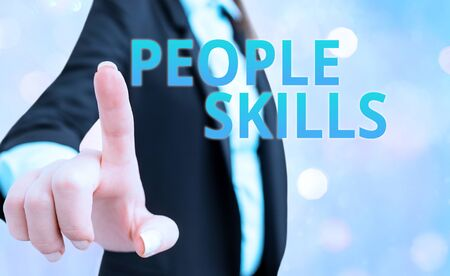 Text sign showing People Skills. Business photo text Get Along well Effective Communication Rapport Approachable 写真素材