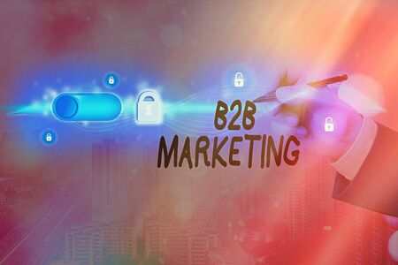 Text sign showing B2B Marketing. Business photo text Partnership Companies Supply Chain Merger Leads Resell