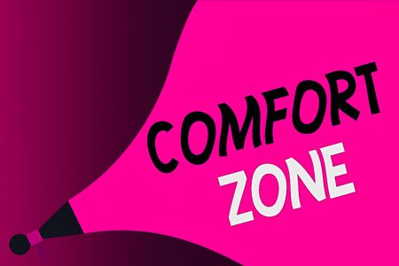 Conceptual hand writing showing Comfort Zone. Concept meaning A situation where one feels safe or at ease have Control Megaphone Extending the Loudness Sound Intensity and Volume.