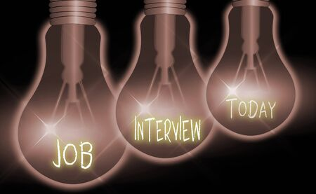 Handwriting text Job Interview. Conceptual photo Assessment Questions Answers Hiring Employment Panel