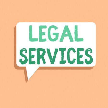 Handwriting text writing Legal Services. Conceptual photo Providing access to justice Fair trial Law equality Rectangular Speech Bubble in Solid Color and Shadow Visual Expression