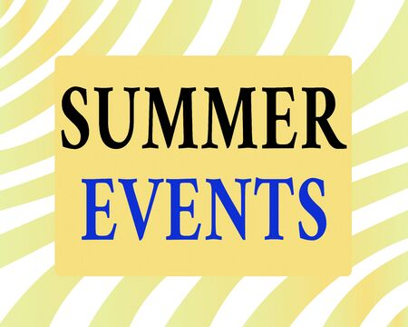 Word writing text Summer Events. Business photo showcasing Celebration Events that takes place during summertime Horizontal Rectangular Shape with Bended Corner Blank Four sides Figure