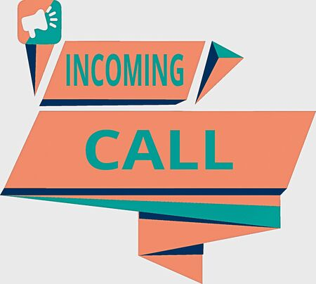 Conceptual hand writing showing Incoming Call. Concept meaning Inbound Received Caller ID Telephone Voicemail Vidcall Quadrangular Abstract Shape Horizontal Graphic Megaphone