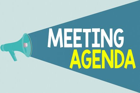 Handwriting text writing Meeting Agenda. Conceptual photo An agenda sets clear expectations for what needs to a meeting Halftone Megaphone Loudspeaker with Volume Capacity Extend Loudness Level Stockfoto