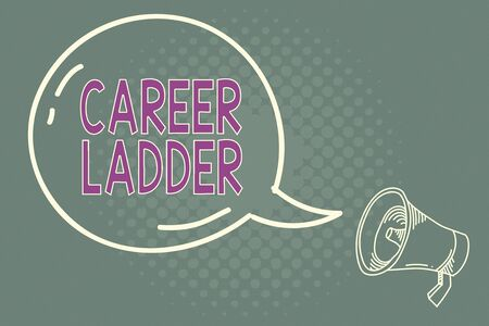 Handwriting text writing Career Ladder. Conceptual photo Job Promotion Professional Progress Upward Mobility Achiever Blank Transparent Speech Bubble with Shining icon and Outline Megaphone Stok Fotoğraf