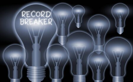 Conceptual hand writing showing Record Breaker. Concept meaning someone or something that beats previous best result