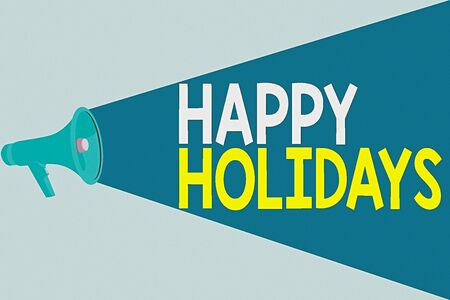 Handwriting text writing Happy Holidays. Conceptual photo Made a short journey by a group of showing for pleasure Halftone Megaphone Loudspeaker with Volume Capacity Extend Loudness Level Stock Photo