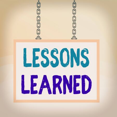 Writing note showing Lessons Learned. Business concept for information reflects positive and negative experiences Whiteboard rectangle frame attached surface chain panel Stock Photo