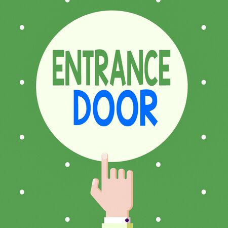 Text sign showing Entrance Door. Business photo showcasing Way in Doorway Gate Entry Incoming Ingress Passage Portal Male Hu analysis Hand Pointing up Index finger Touching Solid Color Circle Standard-Bild