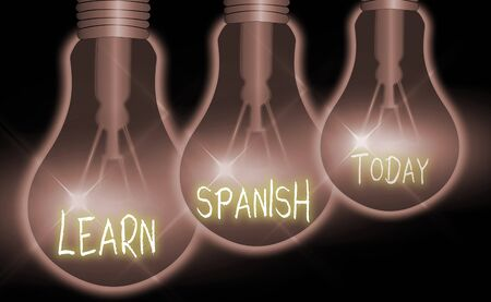 Handwriting text Learn Spanish. Conceptual photo Translation Language in Spain Vocabulary Dialect Speech