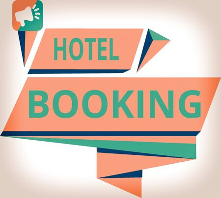 Conceptual hand writing showing Hotel Booking. Concept meaning Online Reservations Presidential Suite De Luxe Hospitality Quadrangular Abstract Shape Horizontal Graphic Megaphone