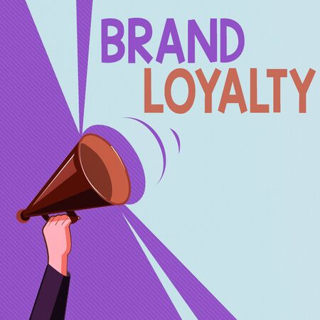 Text sign showing Brand Loyalty. Business photo showcasing Repeat Purchase Ambassador Patronage Favorite Trusted Hu analysis Hand Holding Upward Megaphone with Volume Sound Range Pitch Power