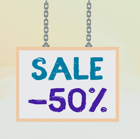 Writing note showing Sale 50 Percent. Business concept for A promo price of an item at 50 percent markdown Whiteboard rectangle frame attached surface chain panel Foto de archivo
