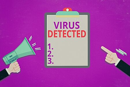 Conceptual hand writing showing Virus Detected. Concept meaning A computer program used to prevent and remove malware Hu analysis Hands Holding Megaphone Pointing Blank Clipboard