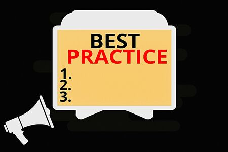Handwriting text Best Practice. Conceptual photo Method Systematic Touchstone Guidelines Framework Ethic Megaphone and Blank Screen Tablet Horizontally Resting on Stand Holder