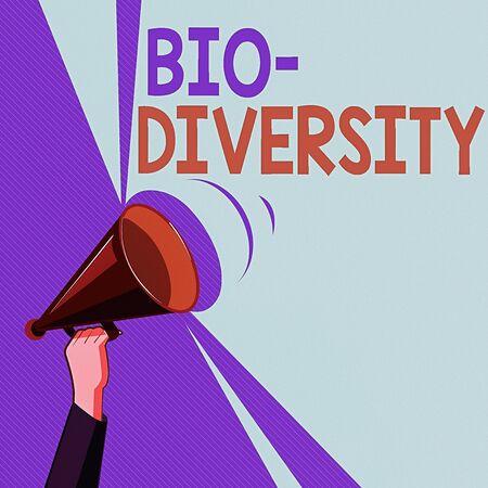 Text sign showing Bio Diversity. Business photo showcasing Variety of Life Organisms Marine Fauna Ecosystem Habitat Hu analysis Hand Holding Upward Megaphone with Volume Sound Range Pitch Power