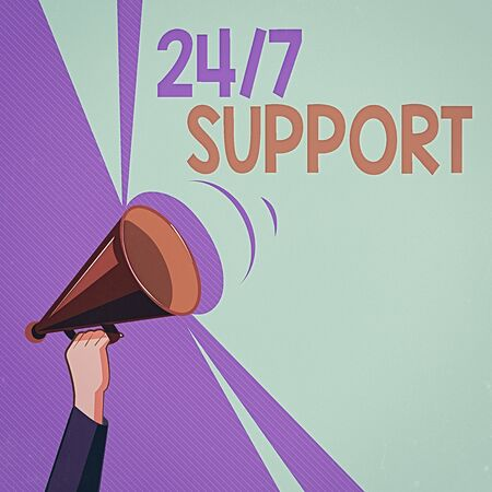 Text sign showing 24 Or 7 Support. Business photo showcasing Giving assistance to service whole day and night No downtime Hu analysis Hand Holding Upward Megaphone with Volume Sound Range Pitch Power