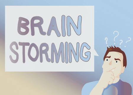 Text sign showing Brain Storming. Business photo text Stimulating creative thinking Developing new ideas Discussion Man Expressing Confused Hand on Mouth Question Mark icon Blank Text Bubble