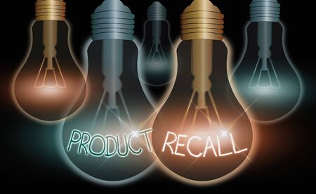 Word writing text Product Recall. Business photo showcasing Request by a company to return the product due to some issue