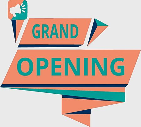 Conceptual hand writing showing Grand Opening. Concept meaning Ribbon Cutting New Business First Official Day Launching Quadrangular Abstract Shape Horizontal Graphic Megaphone