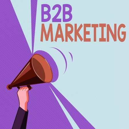 Text sign showing B2B Marketing. Business photo showcasing Partnership Companies Supply Chain Merger Leads Resell Hu analysis Hand Holding Upward Megaphone with Volume Sound Range Pitch Power Stock Photo