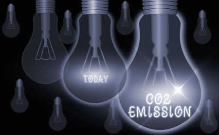 Text sign showing Co2 Emission. Business photo text Releasing of greenhouse gases into the atmosphere over time Archivio Fotografico