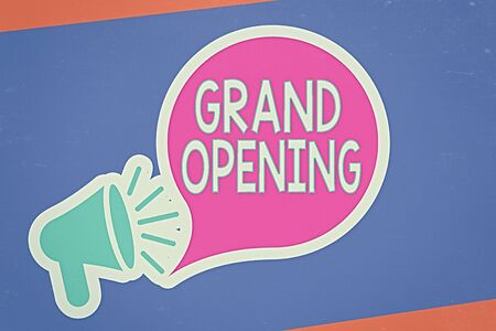 Handwriting text writing Grand Opening. Conceptual photo Ribbon Cutting New Business First Official Day Launching Megaphone with Loudness icon and Blank Speech Bubble in Sticker Style Stock Photo