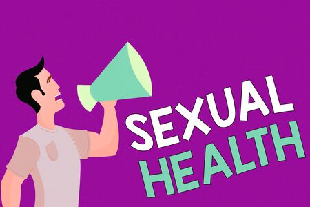 Text sign showing Sexual Health. Business photo showcasing Healthier body Satisfying Sexual life Positive relationships Man in Shirt Standing Talking Holding a Megaphone Male Calling Out onto