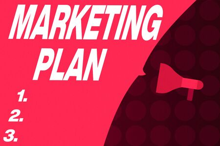 Word writing text Marketing Plan. Business photo showcasing Comprehensive document of business activities and advertising Empty Speech Bubble covers half of the Photo Megaphone make an announcement