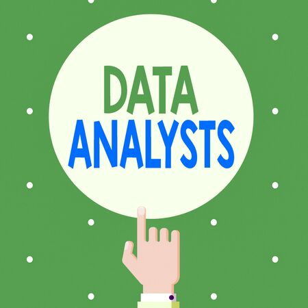 Text sign showing Data Analysts. Business photo showcasing Programmer Design and Create Report Identifies patterns Male Hu analysis Hand Pointing up Index finger Touching Solid Color Circle