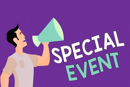 Text sign showing Special Event. Business photo showcasing Function to generate money for non profit a Crowded Occassion Man in Shirt Standing Talking Holding a Megaphone Male Calling Out onto