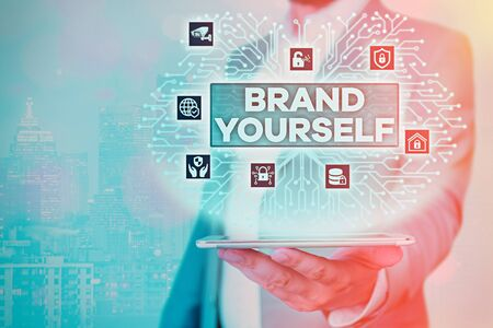 Text sign showing Brand Yourself. Business photo showcasing Develop a unique professional identity Personal product 版權商用圖片