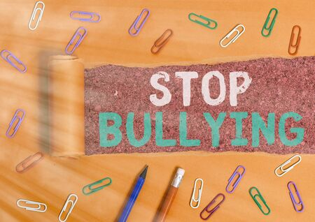 Word writing text Stop Bullying. Business photo showcasing Fight and Eliminate this Aggressive Unacceptable Behavior