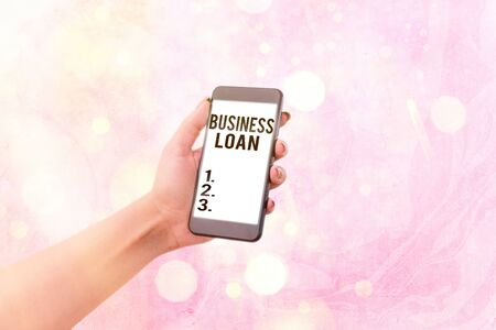 Writing note showing Business Loan. Business concept for Credit Mortgage Financial Assistance Cash Advances Debt