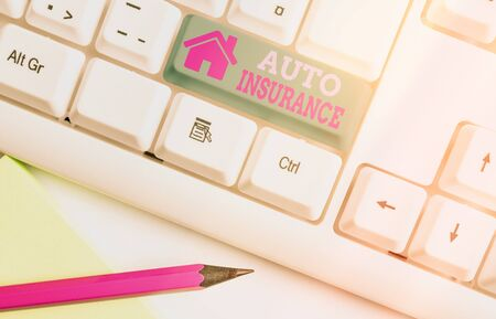Handwriting text Auto Insurance. Conceptual photo Protection against financial loss in case of accident Zdjęcie Seryjne