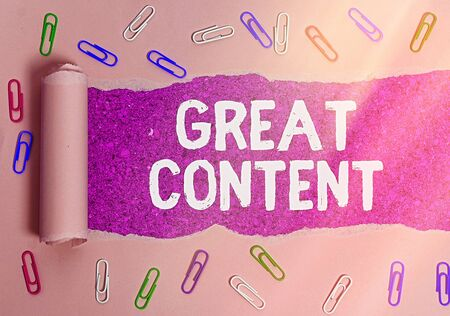 Text sign showing Great Content. Business photo text Satisfaction Motivational Readable Applicable Originality