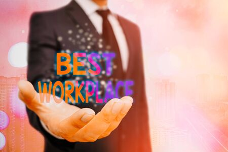 Conceptual hand writing showing Best Workplace. Concept meaning Ideal company to work with High compensation Stress free