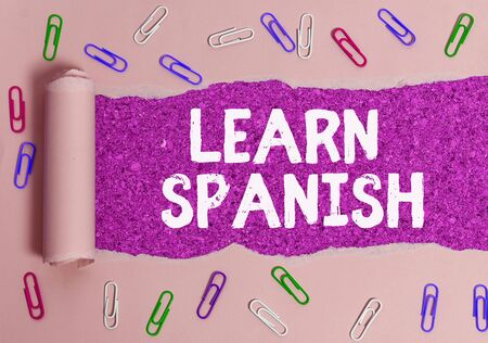 Text sign showing Learn Spanish. Business photo text Translation Language in Spain Vocabulary Dialect Speech