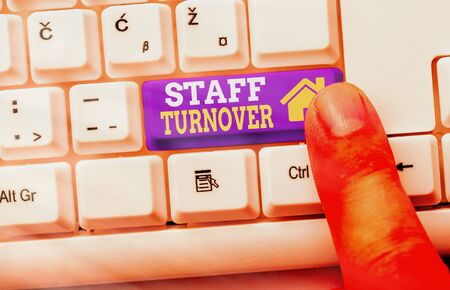 Text sign showing Staff Turnover. Business photo showcasing The percentage of workers that replaced by new employees