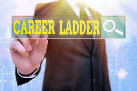 Word writing text Career Ladder. Business photo showcasing Job Promotion Professional Progress Upward Mobility Achiever