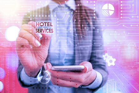 Text sign showing Hotel Services. Business photo text Facilities Amenities of an accommodation and lodging house