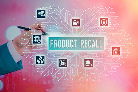 Writing note showing Product Recall. Business concept for Request by a company to return the product due to some issue 免版税图像