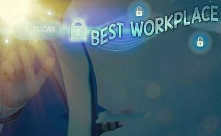 Handwriting text writing Best Workplace. Conceptual photo Ideal company to work with High compensation Stress free Zdjęcie Seryjne