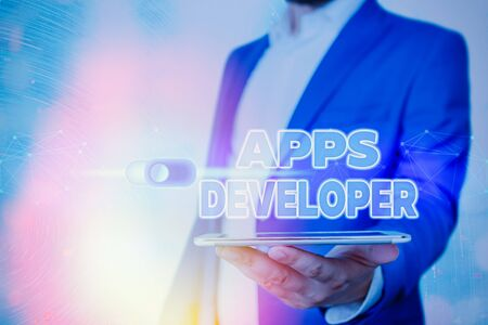 Handwriting text Apps Developer. Conceptual photo Graphic artist Software Programmer and Analyst Experts