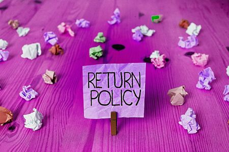Handwriting text writing Return Policy. Conceptual photo Tax Reimbursement Retail Terms and Conditions on Purchase