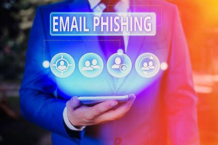 Writing note showing Email Phishing. Business concept for Emails that may link to websites that distribute malware