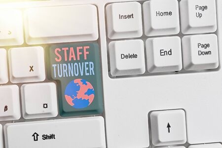 Word writing text Staff Turnover. Business photo showcasing The percentage of workers that replaced by new employees