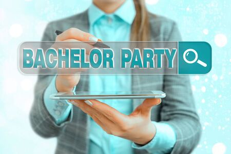 Text sign showing Bachelor Party. Business photo text Party given for a man who is about to get married Stag night Archivio Fotografico