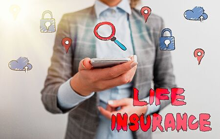 Text sign showing Life Insurance. Business photo showcasing Payment of death benefit or injury Burial or medical claim